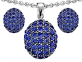 Original Star K™ Created Sapphire Oval Puffed Pendant with matching earrings
