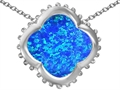 Original Star K™ Large Clover Pendant with 12mm Clover Cut Simulated Blue Opal
