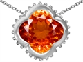 Star K™ Large Clover Pendant Necklace with 12mm Clover Cut Simulated Mexican Orange Fire Opal