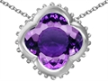 Star K™ Large Clover Pendant Necklace with 12mm Clover Cut Simulated Amethyst