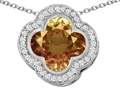 Star K™ Large Clover Pendant Necklace with 12mm Clover Cut Simulated Imperial Yellow Topaz