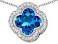 Star K™ Large Clover Pendant Necklace with 12mm Clover Cut Simulated Blue Topaz
