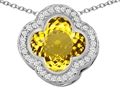 Star K™ Large Clover Pendant Necklace with 12mm Clover Cut Simulated Citrine
