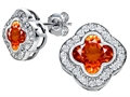 Star K™ Clover Earrings Studs with 8mm Clover Cut Simulated Mexican Orange Fire Opal