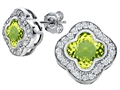 Star K™ Clover Earrings Studs with 8mm Clover Cut Simulated Peridot