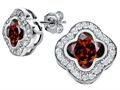 Star K™ Clover Earrings Studs with 8mm Clover Cut Simulated Garnet