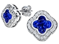 Star K™ Clover Earrings Studs with 8mm Clover Cut Created Sapphire