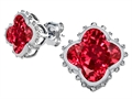 Star K™ Clover Earrings Studs with 8mm Clover Cut Created Ruby