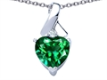 Star K™ 8mm Heart Shape Simulated Emerald Ribbon Pendant Necklace