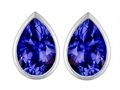 Star K™ 9x6mm Pear Shape Simulated Tanzanite Earrings Studs