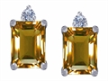 Star K™ 8x6mm Emerald Octagon Cut Simulated Imperial Yellow Topaz Earrings Studs