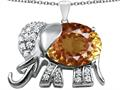 Star K™ Large 12x10mm Oval Simulated Imperial Yellow Topaz Good Luck Elephant Pendant Necklace