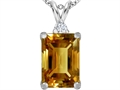 Star K™ Large 14x10mm Emerald Cut Simulated Imperial Yellow Topaz Pendant Necklace