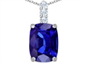 Star K™ Large 14x10mm Cushion Cut Simulated Tanzanite Pendant Necklace
