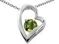 Star K™ 7mm Round Simulated Green Tourmaline Heart Pendant Necklace