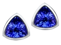 Star K™ 7mm Trillion Cut Simulated Tanzanite Earrings Studs