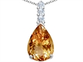 Star K™ Large 14x10mm Pear Shape Simulated Imperial Yellow Topaz Pendant Necklace