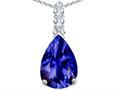 Star K™ Large 14x10mm Pear Shape Simulated Tanzanite Pendant Necklace