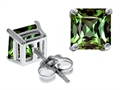 Star K™ Square 7mm Simulated Green Sapphire Earrings