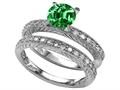 Star K™ 7mm Round Simulated Emerald Wedding Set