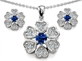 Original Star K™ Created Sapphire Flower Pendant With Matching Earrings