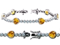 Star K™ High End Tennis Bracelet With 6pcs 7mm Heart Genuine Citrine