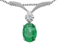 Tommaso Design™ Oval 7x5mm Genuine Emerald Pendant