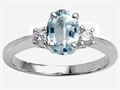 Tommaso Design™ 8x6mm Oval Genuine Aquamarine and Diamond Engagement Ring