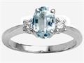 Tommaso Design™ 8x6mm Oval Genuine Aquamarine and Diamond Engagement Ring