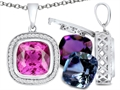 Switch-It Gems™ Interchangeable Simulated Pink Tourmaline Halo Pendant Necklace 12 Cushion Cut 10mm Simulated Birth