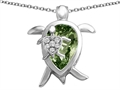 Star K™ Large Mother and Baby Turtle family Pendant Necklace with 12x8mm Pear Shape Simulated Green Tourmaline