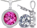 Switch-It Gems™ 2in1 Round 10mm Simulated Pink Tourmaline Pendant Necklace with Interchangeable Simulated White Topaz In