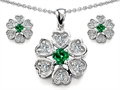 Original Star K™ Simulated Emerald Flower Pendant With Matching Earrings