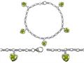 Star K™ High End Tennis Charm Bracelet With 5pcs 7mm Heart Shape Genuine Peridot