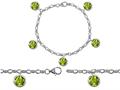Star K™ High End Tennis Charm Bracelet With 5pcs 7mm Round Genuine Peridot