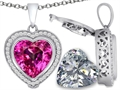 Switch-It Gems™ 2in1 Heart 10mm Simulated Pink Tourmaline Pendant Necklace with Interchangeable Simulated White Topaz In
