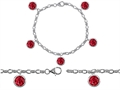 Original Star K™ High End Tennis Charm Bracelet With 5pcs 7mm Round Created Ruby