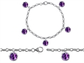 Star K™ High End Tennis Charm Bracelet With 5pcs 7mm Round Genuine Amethyst