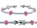 Original Star K™ High End Tennis Bracelet With 6pcs 7mm Cushion Cut Simulated Pink Tourmaline