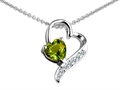 Star K™ 7mm Heart Shape Simulated Green Tourmaline Heart Pendant Necklace