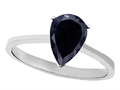 Tommaso Design™ Genuine Black Sapphire Pear Shape Solitaire Engagement Ring