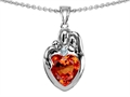 Star K™ Loving Mother And Father With Child Family Pendant Necklace Heart Shape 8mm Simulated Orange Mexican Fi
