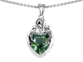 Star K™ Loving Mother with Twins Children Pendant Necklace With 8mm Heart Simulated Green Tourmaline