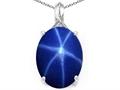 Tommaso Design™ Created Oval Star Sapphire and Diamond Pendant