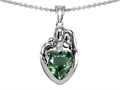 Star K™ Loving Mother And Father With Child Family Pendant Necklace With Heart Shape 8mm Simulated Green Tourma