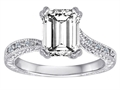 Star K™ Solitaire Ring with Emerald Cut Genuine White Topaz