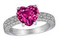 Original Star K™ 8mm Heart Shape Simulated Pink Tourmaline Ring