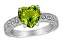 Original Star K™ Genuine 8mm Heart Shape Peridot Ring