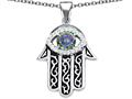 Star K™ Good Luck Hamsa Evil Eye Protection Pendant Necklace with Round Rainbow Mystic Quartz