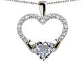 Star K™ Hands Holding Heart Simulated Aquamarine Claddagh Pendant Necklace